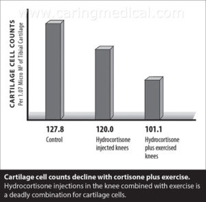Cartilage cell counts decline with cortisone and exercise