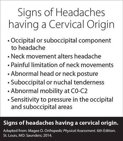 signs headaches cervical origin