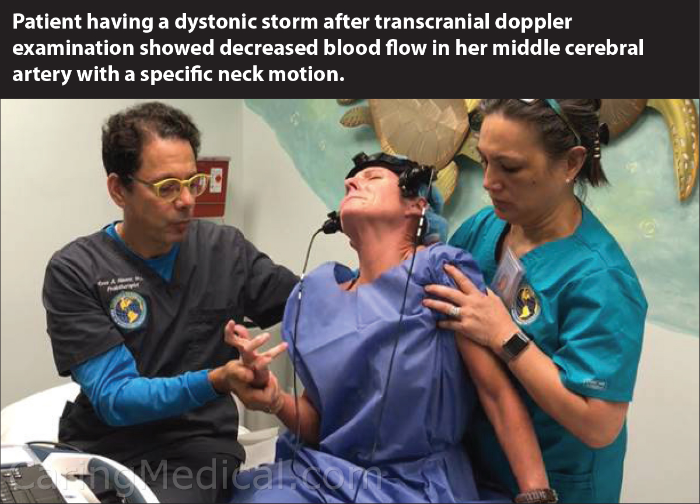 Patient having a dystonic storm after transcranial doppler examination showed decreased blood flow in her middle cerebral artery with specific neck motion